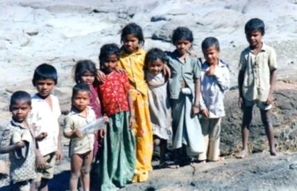 kids by Ajanta caves, India