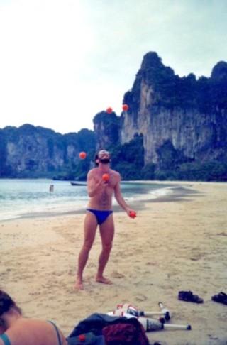 juggling on Thai beach Krabi