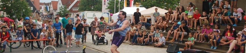 Festival entertainment clown Tom Bolton